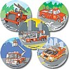 "SmileMakers® Fire Trucks Stickers; 2-1/2""H x 2-1/2""W, 100/Roll"