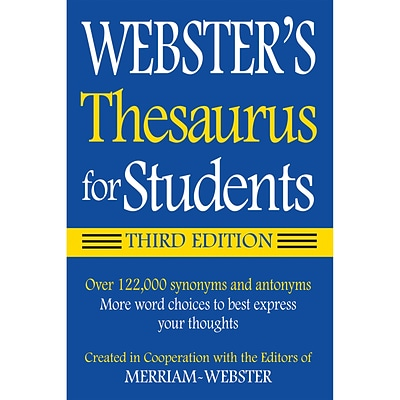 Websters Thesaurus for Students, Third Edition, Paperback (9781596950948)