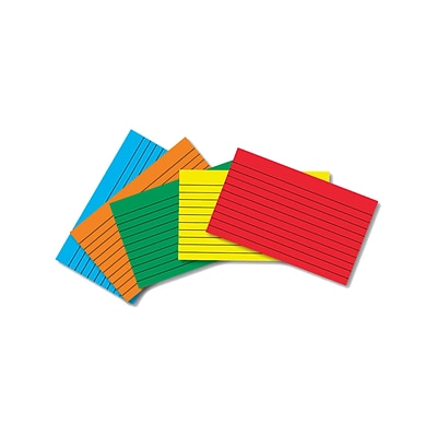 Border Index Cards, 3 x 5 Lined, Primary Colors 75CT