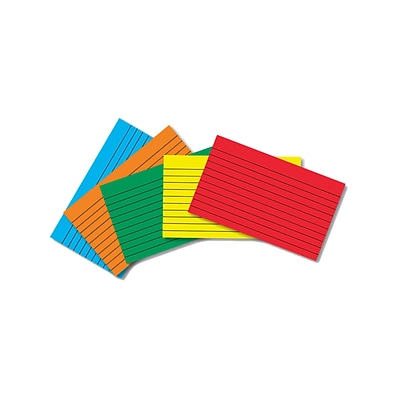 Border Index Cards, 4 x 6 Lined, Primary Colors 75CT