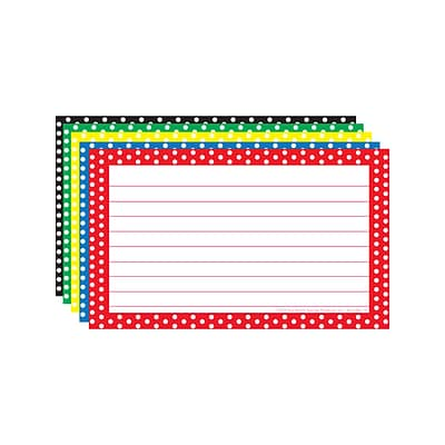 Border Index Cards, 3 x 5 Lined, Polka Dot