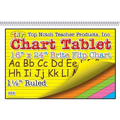 Top Notch Chart Tablet; Assorted, 1/2 Ruled