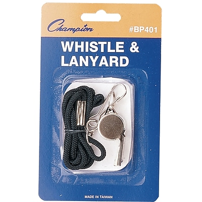 Champion Sports Metal Whistle with Lanyard, Silver, Each (CHSBP401)