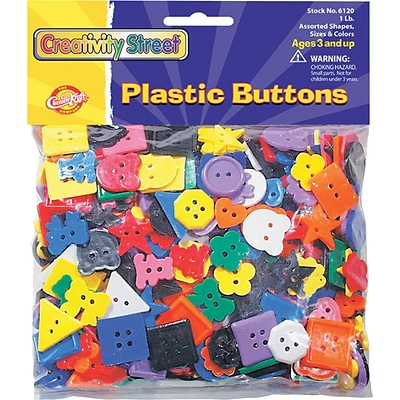 Creativity Street Plastic Buttons, Assorted Colors, 3/4 to 1, 1 lb. (CK-6120)