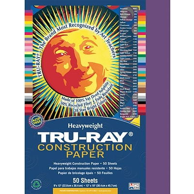 Tru-Ray® Construction Paper; Purple, 12 X 18, 50 Sheets