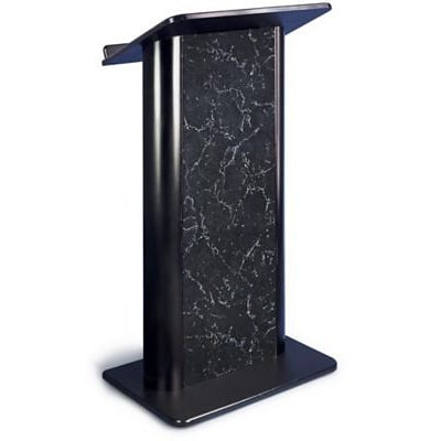 Amplivox® Lectern, Flat C-Panel, Pyrenees Marble-Black Anodized Aluminum