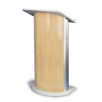 Amplivox® Lectern, Curved C-Panel, Maple-Satin Anodized Aluminum