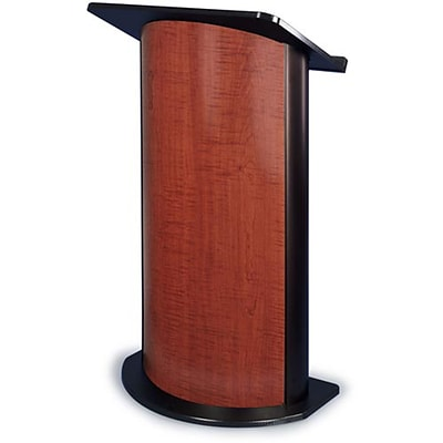 Amplivox® Lectern, Curved C-Panel, Sipping Seattle Java, Black Anodized Aluminum