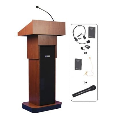 Amplivox® Lectern, Adjustable column Wireless sound Lectern, Mahogany
