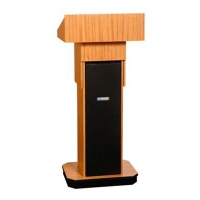 Amplivox® Lectern, Non-Sound, Adjustable, Full-Height, Column, Light Oak