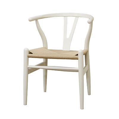 Baxton Studio Ivory Wood Wishbone Chair, White