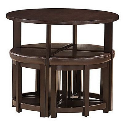 Baxton Studio Rochester Modern Bar Table Set w/Nesting Stools, Brown