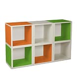 Way Basics zBoard Recycled Paper 6 Modular Cubes Storage Cube, Green/Orange/White, 6/Pack