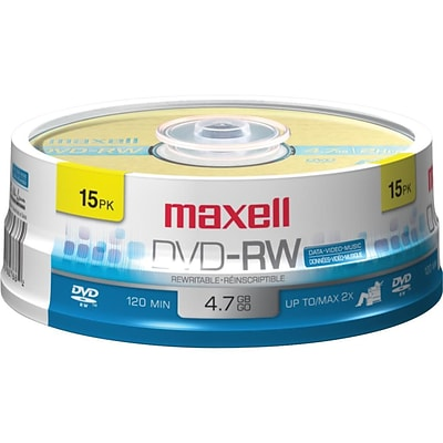 Maxell 4.70GB DVD-RW; Spindle, 15/Pack