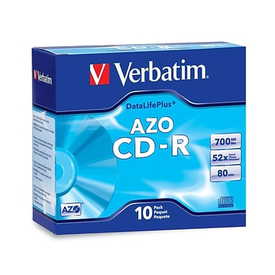 Verbatim® DataLifePlus 700MB CD-R; Slim Case, 10/Pack