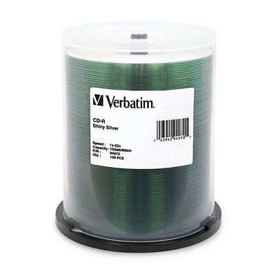 Verbatim® 700MB Shiny Silver CD-R; Spindle, 100/Pack