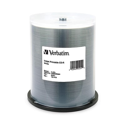Verbatim® 700MB White Inkjet Printable CD-R; Spindle, 100/Pack