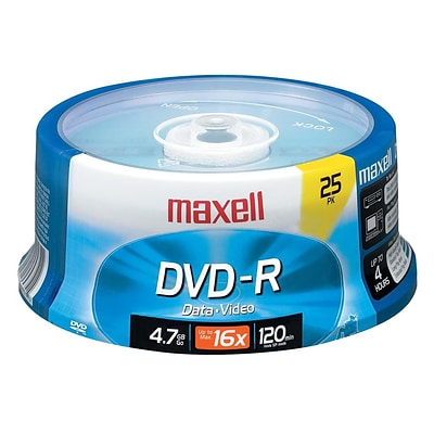 Maxell 4.7GB 16X Spindle DVD-R, 25/Pack