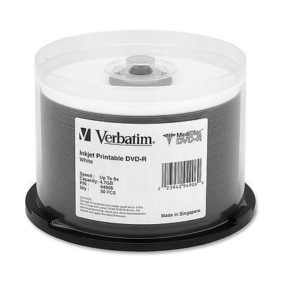 Verbatim® MediDisc 4.7GB 8X Inkjet Printable DVD-R; Spindle, 50/Pack
