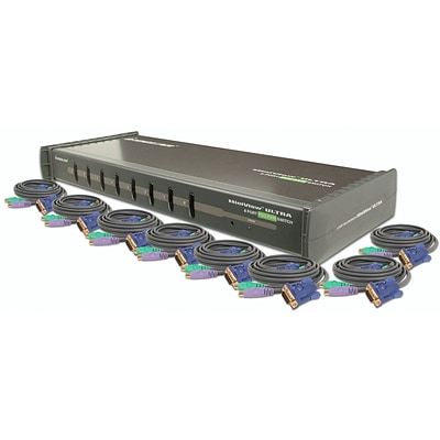Iogear® 10 8-Port KVM Switch With Cables Kit; Gray
