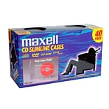 Maxell® Plastic Slimline Jewel CD Case; Clear; 40/Pack, 40/Pack