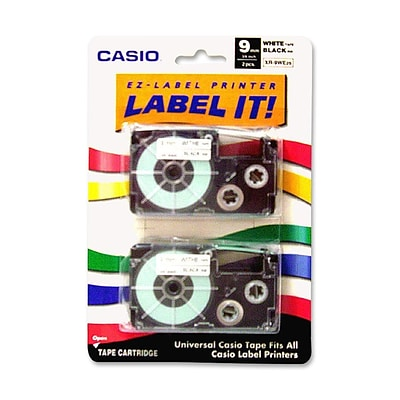 Casio® XR9WES 9 mm Black on White Label Printer Tape For CWL-300; 2/Roll, Roll