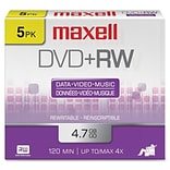 Maxell® 4.7GB DVD+RW; Jewel Case; 5/Pack, 5/Pack