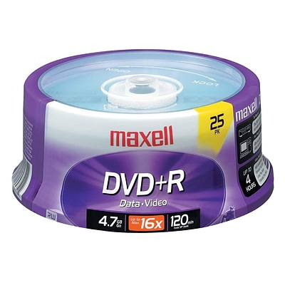 Maxell® 4.7GB DVD+R; Spindle; 25/Pack, 25/Pack
