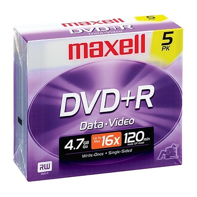 Maxell® 4.7GB DVD+R; Jewel Case; 5/Pack, 5/Pack
