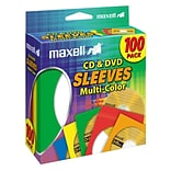 Maxell® CD/DVD Sleeves; Multi-Color; 100/Pack, 100/Pack