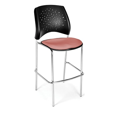 OFM Star Series Fabric Cafe Height Chair, Coral Pink, 2/Pack