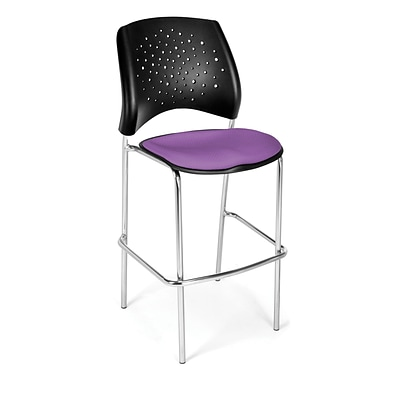 OFM Star Series Fabric Cafe Height Chair, Plum, 2/Pack