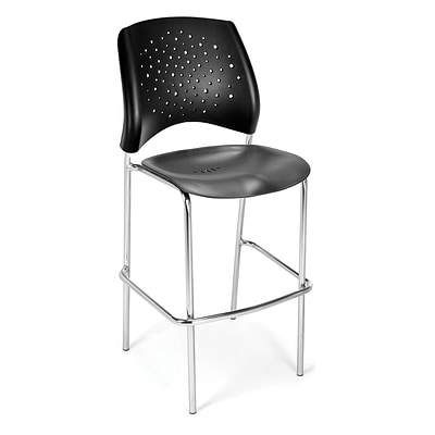 OFM Star Series Plastic Cafe Height Chair, Black, 2/Pack