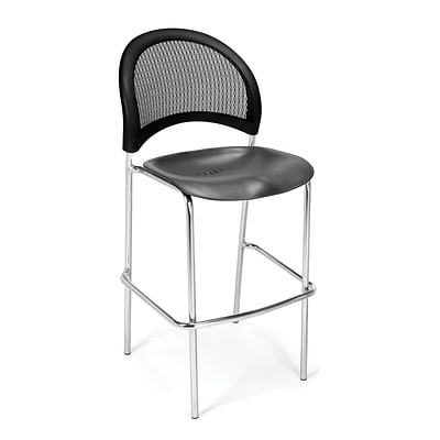 OFM Moon Series Plastic Cafe Height Chair, Black, 2/Pack