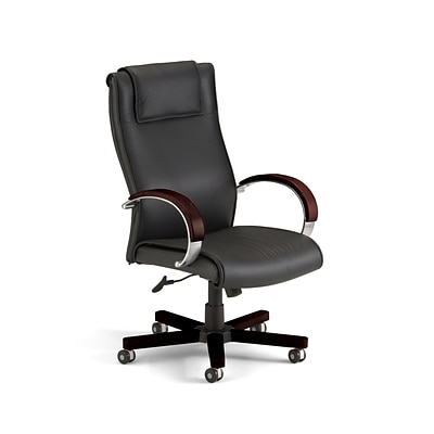 OFM Apex High-Back Leather Executive Chair, Fixed Arms, Mahogany (560-L-MAHOGANY)