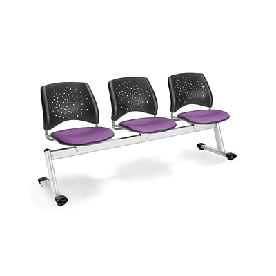 OFM Star Series Fabric 3 Seat Beam Seating, Plum