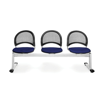 OFM Moon Series Fabric 3 Seat Beam Seating, Navy