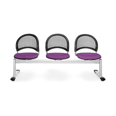 OFM Moon Series Fabric 3 Seat Beam Seating, Plum