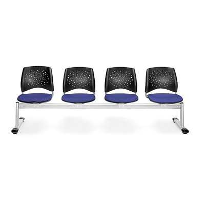OFM Star Series Fabric 4 Seat Beam Seating, Royal Blue