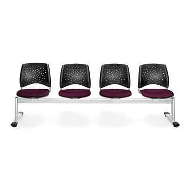 OFM Star Series Fabric 4 Seat Beam Seating, Burgundy
