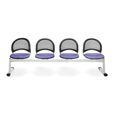 OFM Moon Series Fabric 4 Seat Beam Seating, Lavender