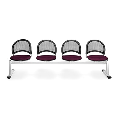 OFM Moon Series Fabric 4 Seat Beam Seating, Burgundy