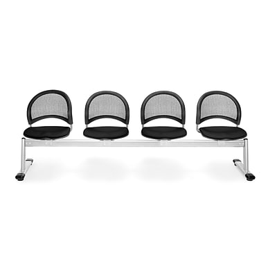 OFM Moon Series Fabric 4 Seat Beam Seating, Black