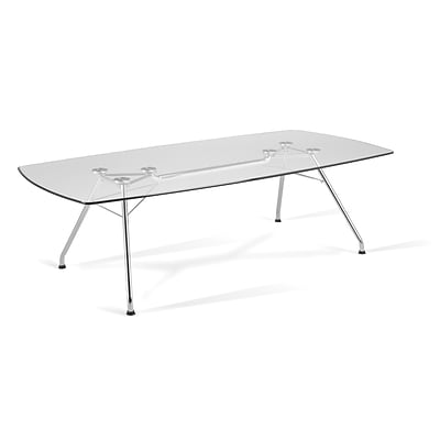 OFM 47 W x 94 L Glass/Stainless Steel Conference Table