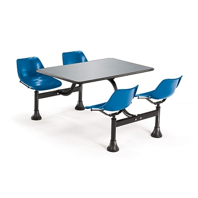 OFM 30 W x 48 L Stainless Steel Group/Cluster Table And Chair, Navy