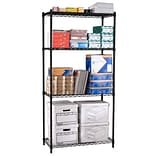 OFM Steel 72(H) x 36(W) x 24(D) Wire Shelving, Black