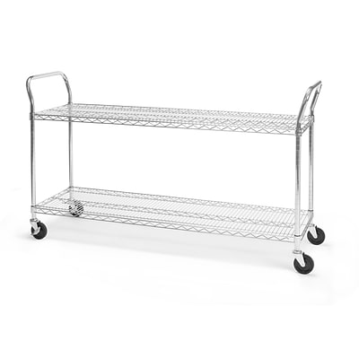 OFM 60 H x 18 W Heavy Duty Wire Shelf Mobile Cart With Industrial Caster, Chrome (SHCART1860)
