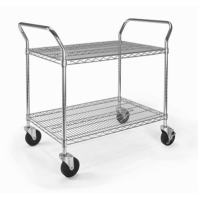OFM 29.75 H x 36 W Heavy Duty Wire Shelf Mobile Cart With Industrial Caster, Chrome