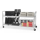 OFM 72 H x 24 W Heavy Duty Wire Shelf Mobile Cart With Industrial Caster, Chrome