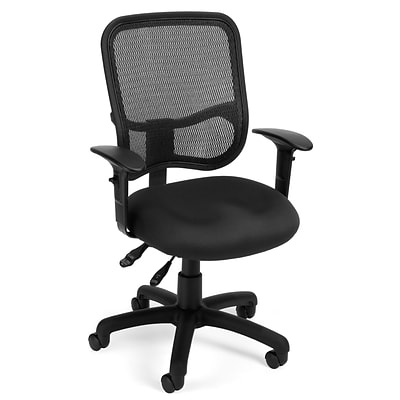 OFM Mesh Comfort Series Fabric Ergonomic Task Chair, Black